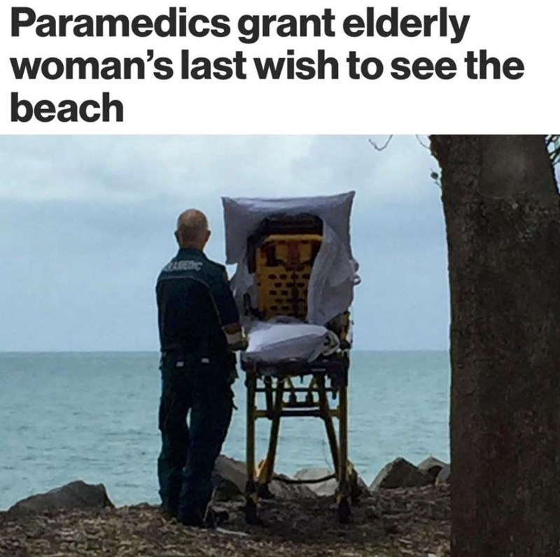 Text - Adaptation - Paramedics grant elderly woman's last wish to see the beach AREDIC