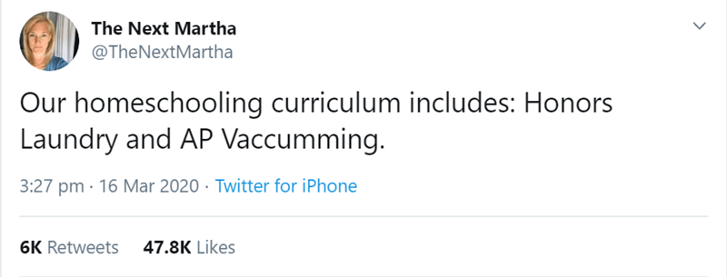 Text - The Next Martha @TheNextMartha Our homeschooling curriculum includes: Honors Laundry and AP Vaccumming. 3:27 pm · 16 Mar 2020 · Twitter for iPhone 6K Retweets 47.8K Likes