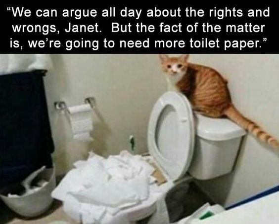 """Toilet - """"We can argue all day about the rights and wrongs, Janet. But the fact of the matter is, we're going to need more toilet paper."""""""