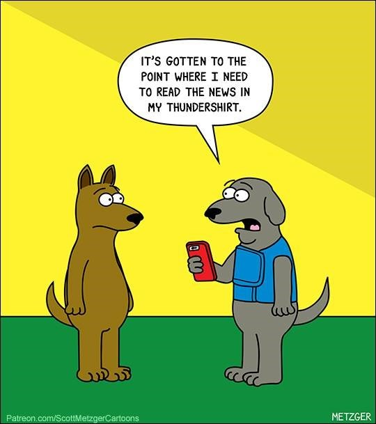 Cartoon - IT'S GOTTEN TO THE POINT WHERE I NEED TO READ THE NEWS IN MY THUNDERSHIRT. Patreon.com/ScottMetzgerCartoons METZGER