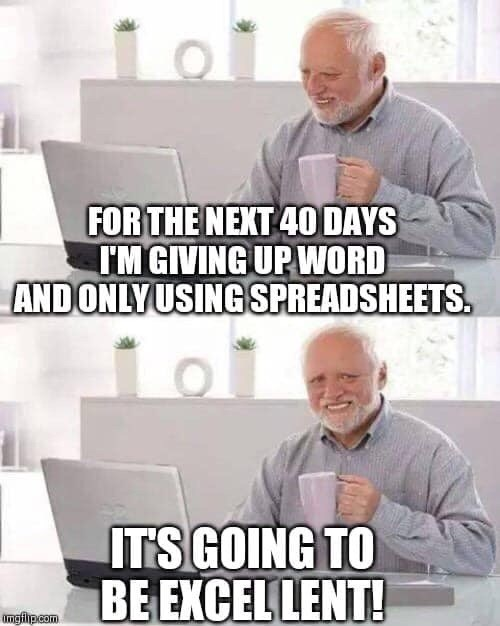 Text - Photo caption - FOR THE NEXT 4O DAYS I'M GIVING UP WORD AND ONLYUSING SPREADSHEETS. ITS GOING TO BE EXCEL LENT! Imgfilipcom