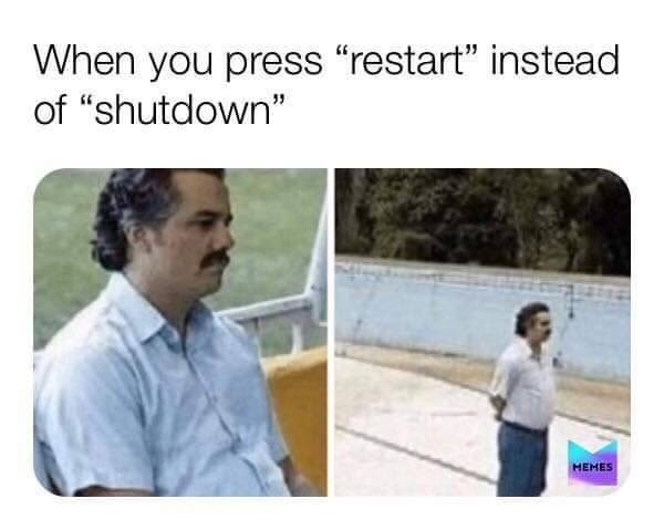 "Text - Product - When you press ""restart"" instead of ""shutdown"" HEMES"