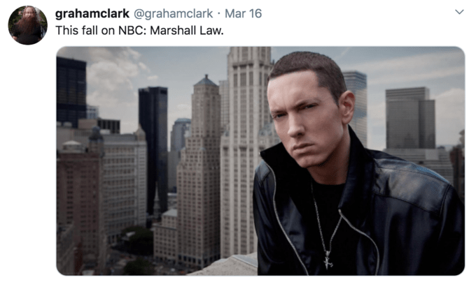 Font - grahamclark @grahamclark · Mar 16 This fall on NBC: Marshall Law.