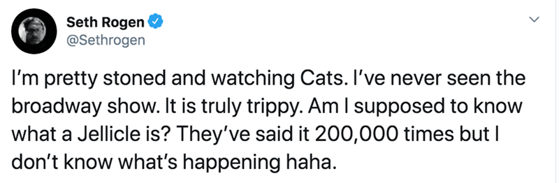 Text - Seth Rogen @Sethrogen I'm pretty stoned and watching Cats. I've never seen the broadway show. It is truly trippy. Am I supposed to know what a Jellicle is? They've said it 200,000 times but I don't know what's happening haha.