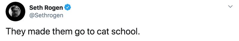 Text - Seth Rogen @Sethrogen They made them go to cat school.
