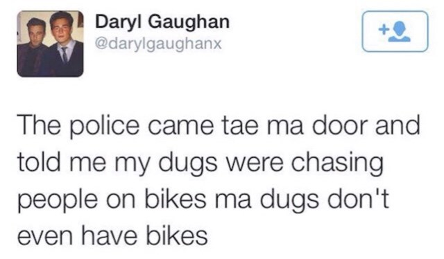 Text - Daryl Gaughan @darylgaughanx The police came tae ma door and told me my dugs were chasing people on bikes ma dugs don't even have bikes