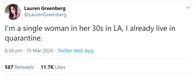 Text - Lauren Greenberg @LaurenGreenberg I'm a single woman in her 30s in LA, I already live in quarantine. 8:36 pm · 10 Mar 2020 · Twitter Web App 587 Retweets 11.7K Likes