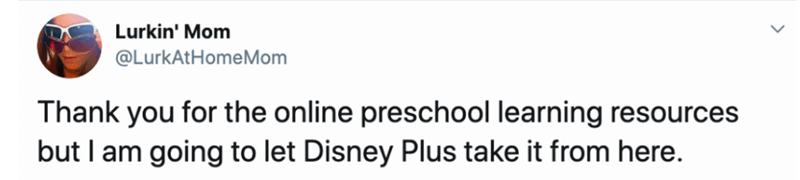 Text - Lurkin' Mom @LurkAtHomeMom Thank you for the online preschool learning resources but I am going to let Disney Plus take it from here.