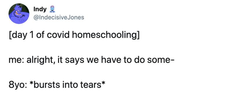 Text - Indy @IndecisiveJones [day 1 of covid homeschooling] me: alright, it says we have to do some- 8yo: *bursts into tears*