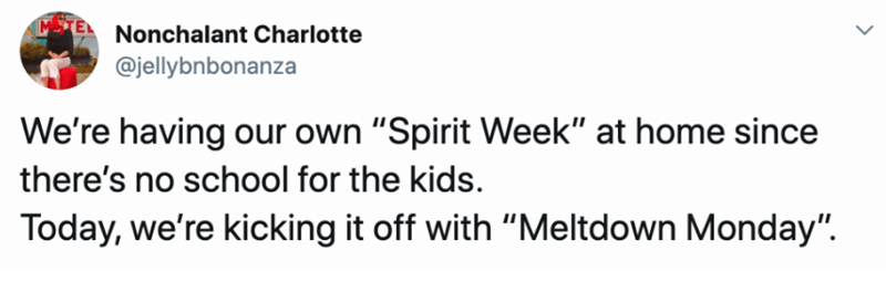 """Text - MTEL Nonchalant Charlotte @jellybnbonanza We're having our own """"Spirit Week"""" at home since there's no school for the kids. Today, we're kicking it off with """"Meltdown Monday""""."""