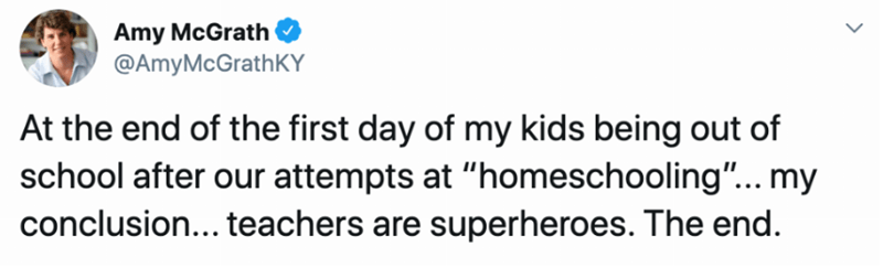 """Text - Amy McGrath @AmyMcGrathKY At the end of the first day of my kids being out of school after our attempts at """"homeschooling""""... my conclusion... teachers are superheroes. The end."""