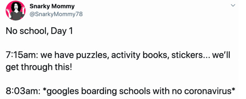 Text - Snarky Mommy @SnarkyMommy78 No school, Day 1 7:15am: we have puzzles, activity books, stickers... we'll get through this! 8:03am: *googles boarding schools with no coronavirus*