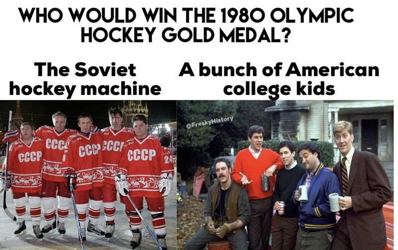 Team - WHO WOULD WIN THE 1980 OLYMPIC HOCKEY GOLD MEDAL? The Soviet A bunch of American college kids hockey machine @FreskyHistory GC శ8 CCCP CCCP 2に