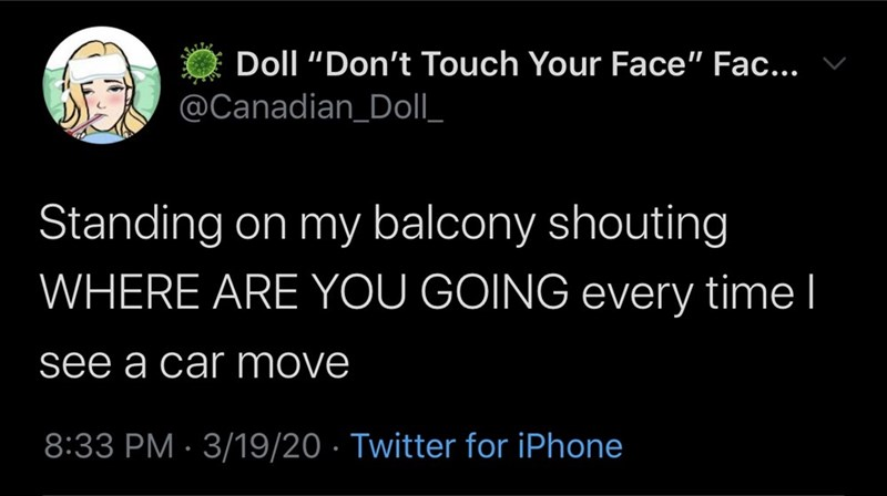 """Text - Doll """"Don't Touch Your Face"""" Fac... @Canadian_Doll_ Standing on my balcony shouting WHERE ARE YOU GOING every time I see a car move 8:33 PM · 3/19/20 · Twitter for iPhone"""
