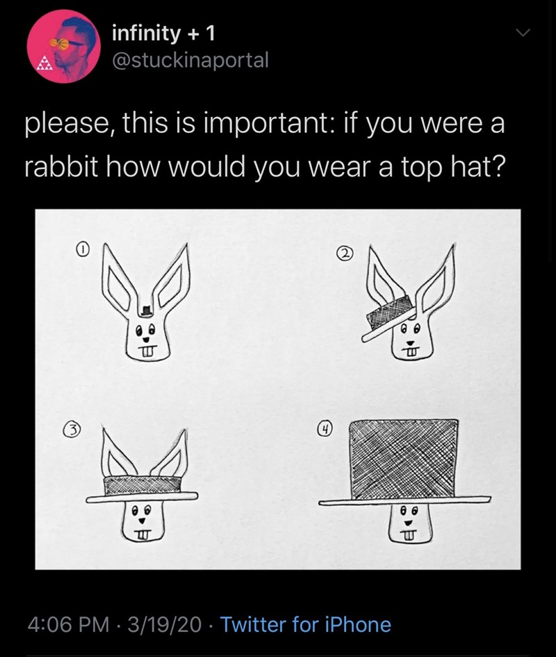 Text - infinity + 1 @stuckinaportal please, this is important: if you were a rabbit how would you wear a top hat? 4:06 PM · 3/19/20 · Twitter for iPhone