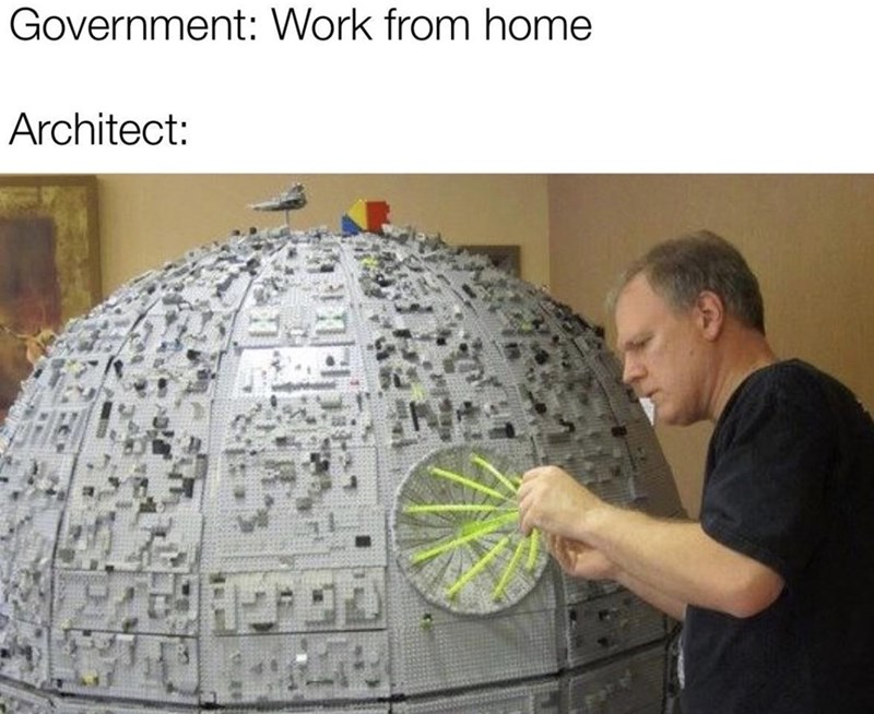 Text - Government: Work from home Architect: