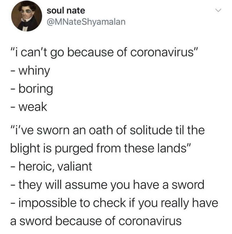 """Text - soul nate @MNateShyamalan """"i can't go because of coronavirus"""" - whiny - boring - weak """"i've sworn an oath of solitude til the blight is purged from these lands"""" - heroic, valiant - they will assume you have a sword - impossible to check if you really have a sword because of coronavirus"""