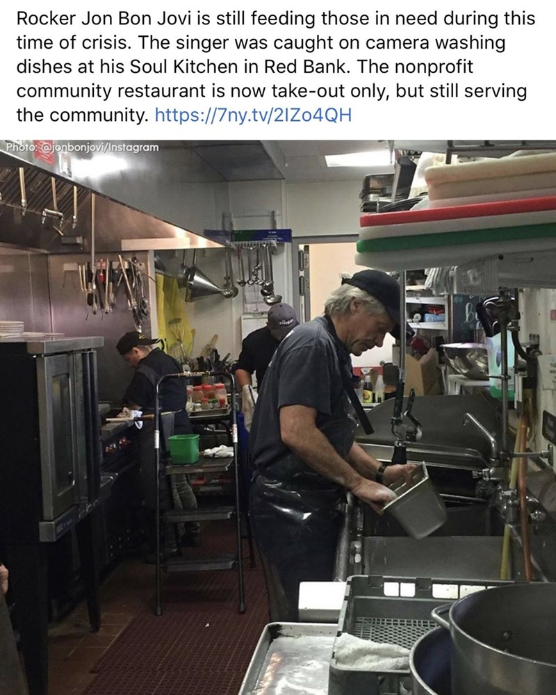 Job - Rocker Jon Bon Jovi is still feeding those in need during this time of crisis. The singer was caught on camera washing dishes at his Soul Kitchen in Red Bank. The nonprofit community restaurant is now take-out only, but still serving the community. https://7ny.tv/21Z04QH Photo: @jonbonjovi/Instagram
