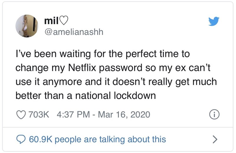 Text - milO @amelianashh I've been waiting for the perfect time to change my Netflix password so my ex can't use it anymore and it doesn't really get much better than a national lockdown 703K 4:37 PM - Mar 16, 2020 60.9K people are talking about this <>