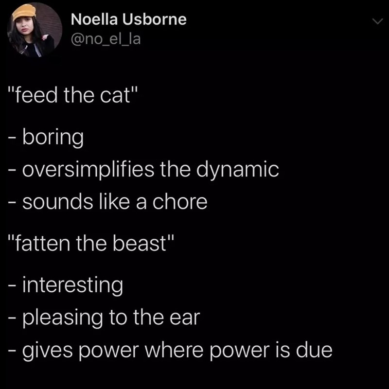 "Text - Noella Usborne @no_el_la ""feed the cat"" - boring oversimplifies the dynamic - sounds like a chore ""fatten the beast"" - interesting - pleasing to the ear - gives power where power is due"