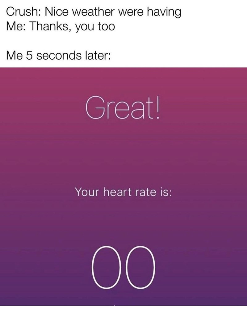 Text - Crush: Nice weather were having Me: Thanks, you too Me 5 seconds later: Great! Your heart rate is: 00