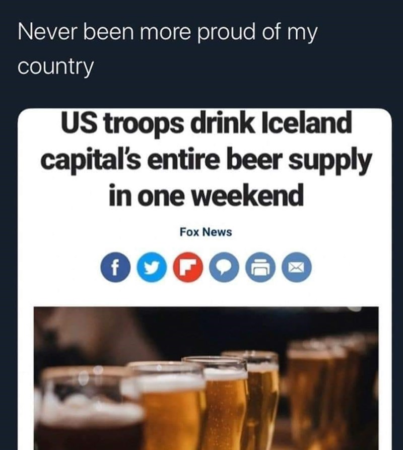 Product - Never been more proud of my country US troops drink Iceland capital's entire beer supply in one weekend Fox News 000000
