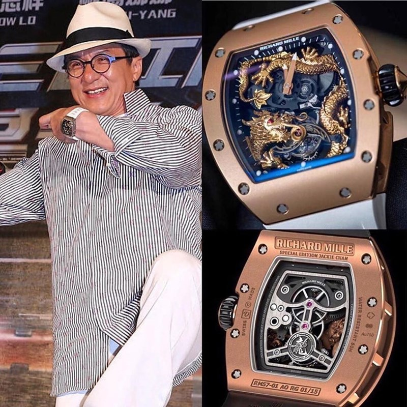 Watch - DW LO V-YANG RICHARO MILL RICHARD MILLE SPECIAL EDIYON JACKIE CHAN HARD Au750 RM57-01 AO RG 01/15 WATER RESISTANT SOM SWISS O MADE