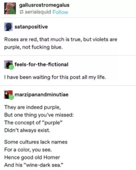 """Text - gallusrostromegalus S aerialsquid Follow satanpositive Roses are red, that much is true, but violets are purple, not fucking blue. feels-for-the-fictional I have been waiting for this post all my life. marzipanandminutiae They are indeed purple, But one thing you've missed: The concept of """"purple"""" Didn't always exist. Some cultures lack names For a color, you see. Hence good old Homer And his """"wine-dark sea."""""""