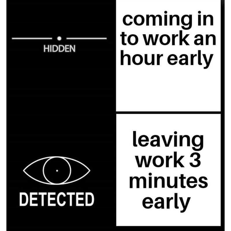 Text - coming in to work an hour early HIDDEN leaving work 3 minutes early DETECTED