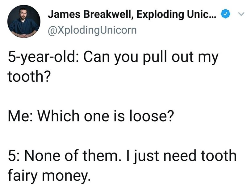 Text - James Breakwell, Exploding Unic... @XplodingUnicorn 5-year-old: Can you pull out my tooth? Me: Which one is loose? 5: None of them. I just need tooth fairy money.