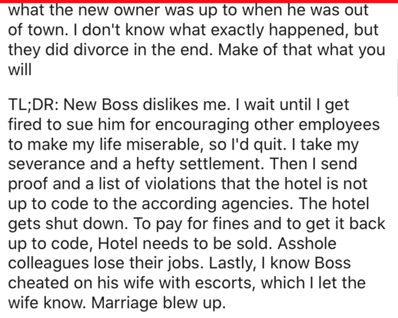 Text - what the new owner was up to when he was out of town. I don't know what exactly happened, but they did divorce in the end. Make of that what you will TL;DR: New Boss dislikes me. I wait until I get fired to sue him for encouraging other employees to make my life miserable, so l'd quit. I take my severance and a hefty settlement. Then I send proof and a list of violations that the hotel is not up to code to the according agencies. The hotel gets shut down. To pay for fines and to get it ba
