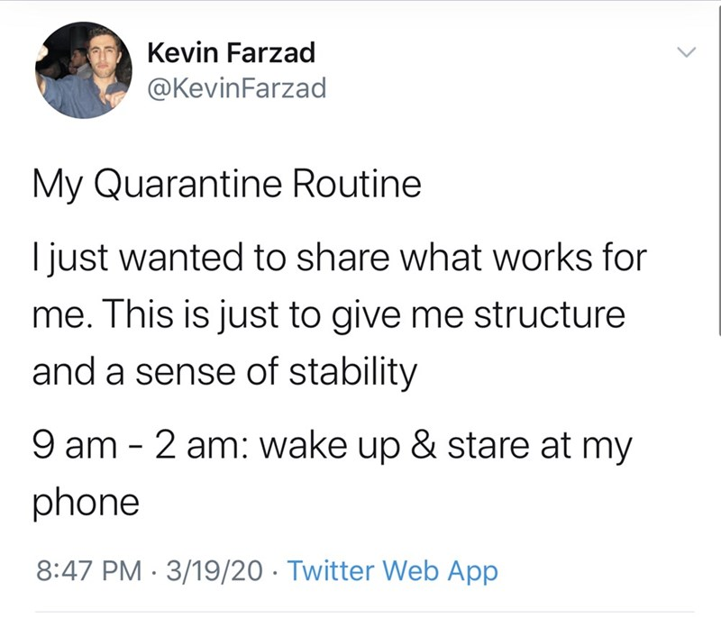 Text - Kevin Farzad @KevinFarzad My Quarantine Routine I just wanted to share what works for me. This is just to give me structure and a sense of stability 9 am - 2 am: wake up & stare at my phone 8:47 PM · 3/19/20 · Twitter Web App