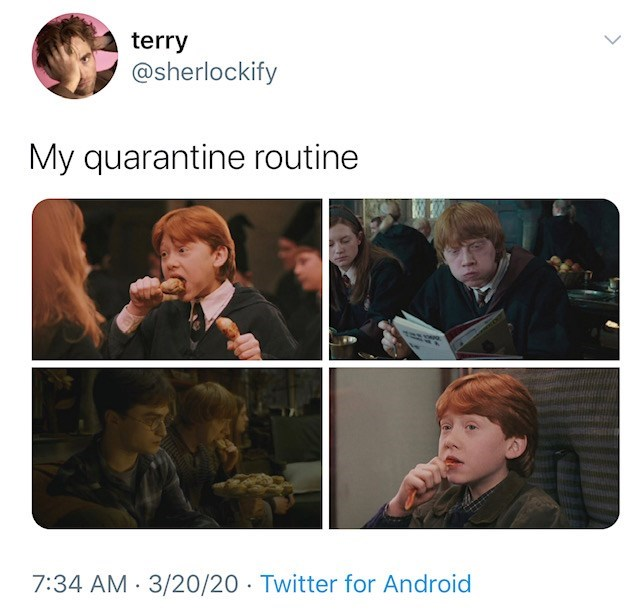 Text - terry @sherlockify My quarantine routine 7:34 AM · 3/20/20 · Twitter for Android