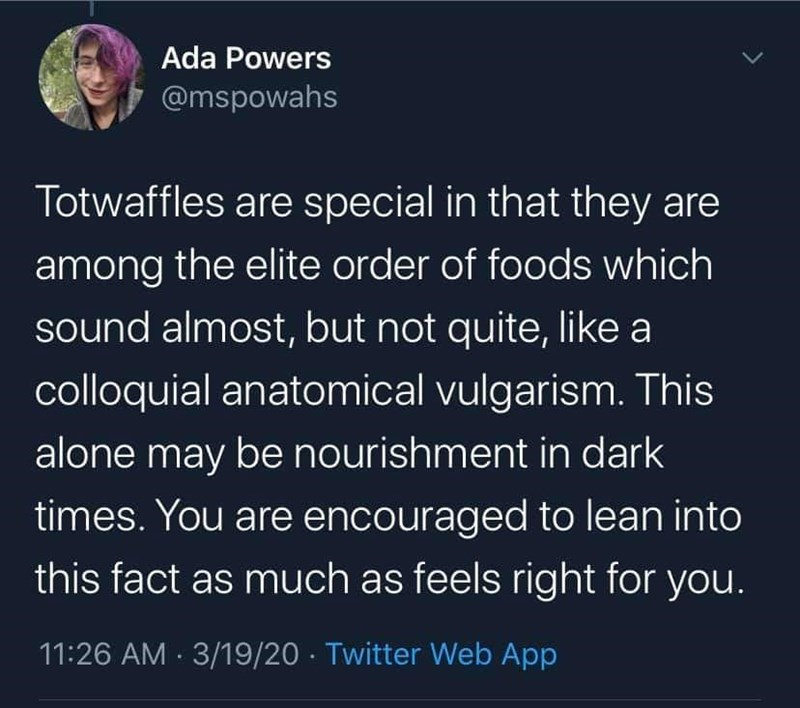 Text - Ada Powers @mspowahs Totwaffles are special in that they are among the elite order of foods which sound almost, but not quite, like a colloquial anatomical vulgarism. This alone may be nourishment in dark times. You are encouraged to lean into this fact as much as feels right for you. 11:26 AM · 3/19/20 · Twitter Web App