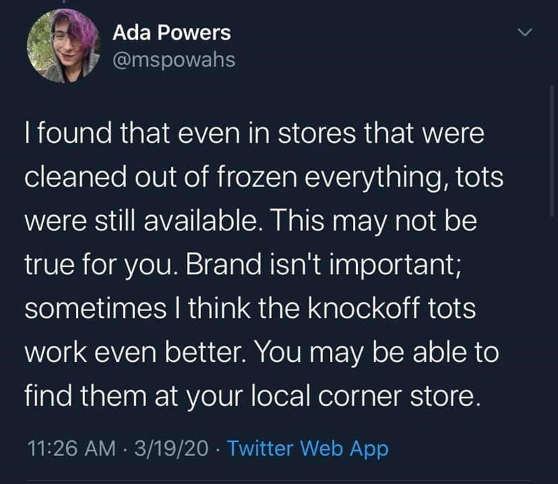 Text - Ada Powers @mspowahs I found that even in stores that were cleaned out of frozen everything, tots were still available. This may not be true for you. Brand isn't important; sometimes I think the knockoff tots work even better. You may be able to find them at your local corner store. 11:26 AM · 3/19/20 · Twitter Web App