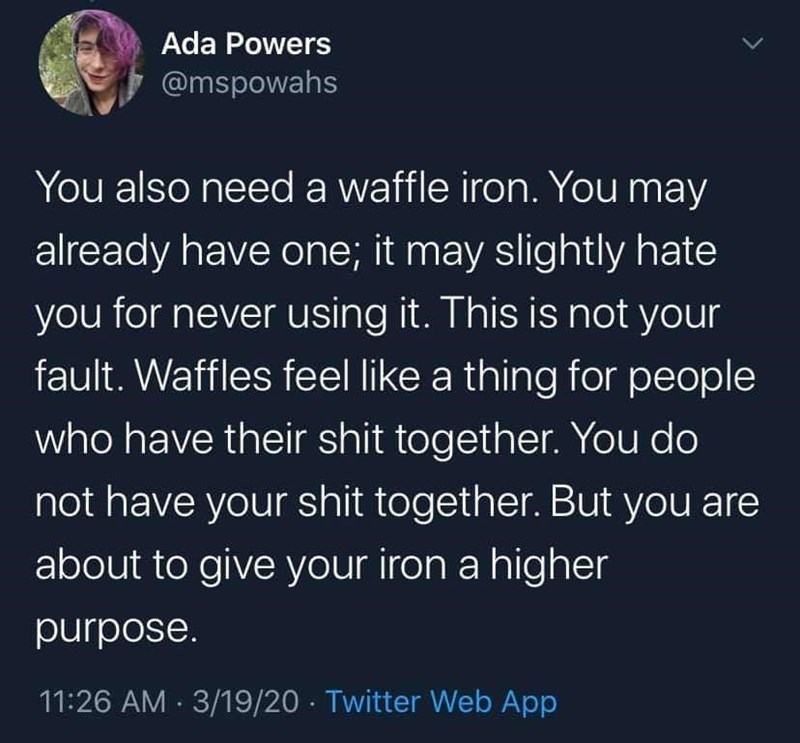 Text - Ada Powers @mspowahs You also need a waffle iron. You may already have one; it may slightly hate you for never using it. This is not your fault. Waffles feel like a thing for people who have their shit together. You do not have your shit together. But you are about to give your iron a higher purpose. 11:26 AM · 3/19/20 · Twitter Web App