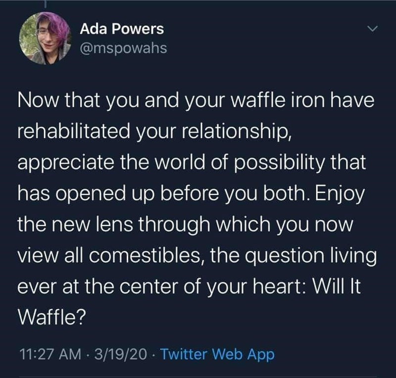 Text - Ada Powers @mspowahs Now that you and your waffle iron have rehabilitated your relationship, appreciate the world of possibility that has opened up before you both. Enjoy the new lens through which you now view all comestibles, the question living ever at the center of your heart: Will It Waffle? 11:27 AM · 3/19/20 - Twitter Web App