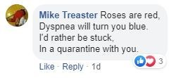 Text - Mike Treaster Roses are red, Dyspnea will turn you blue. I'd rather be stuck, In a quarantine with you. Like Reply - 1d