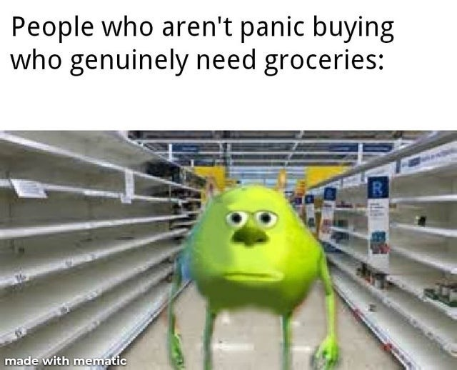 Line - People who aren't panic buying who genuinely need groceries: made with mematic