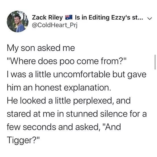"Text - Zack Riley Is in Editing Ezzy's st... v @ColdHeart_Prj My son asked me ""Where does poo come from?"" I was a little uncomfortable but gave him an honest explanation. He looked a little perplexed, and stared at me in stunned silence for a few seconds and asked, ""And Tigger?"""