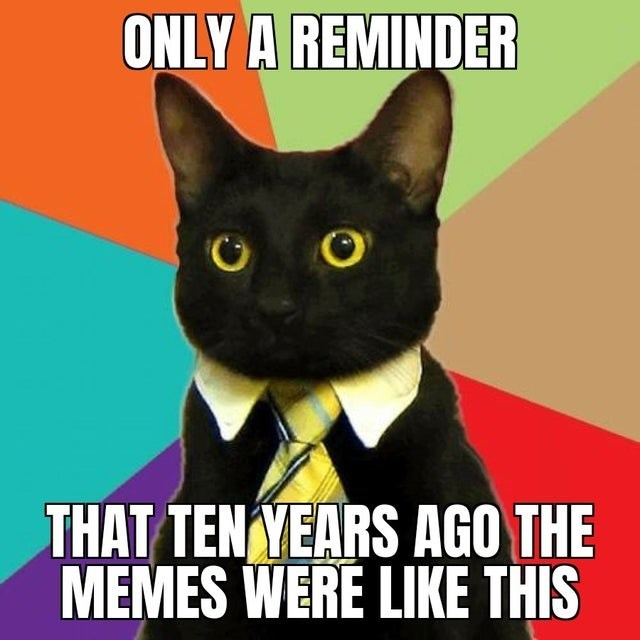 Cat - ONLY A REMINDER THAT TENYEARS AGO THE MEMES WERE LIKE THIS