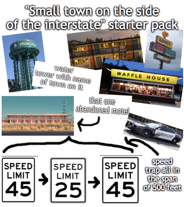 """Technology - """"Small town on the side of the interstate"""" starter pack Loves STRONESH SUBLAAY water tower with name of town on it WAFFLE HOUSE that one abandoned motel SPEED LIMIT speed trap all in the span of 500 feet SPEED LIMIT SPEED LIMIT 45 25"""