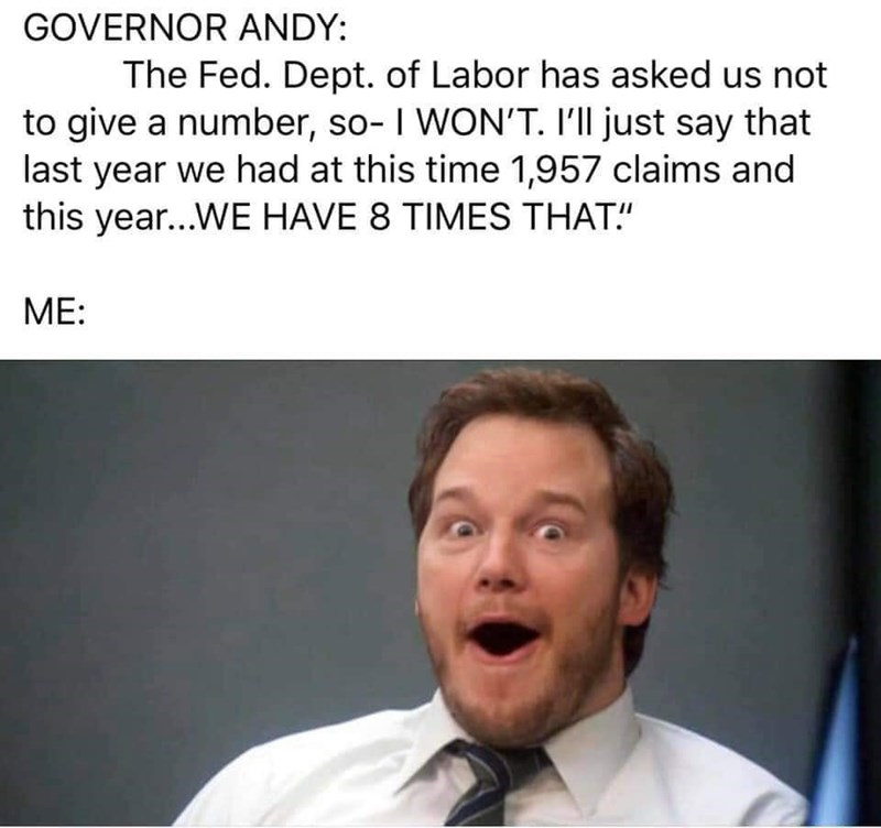 "Facial expression - GOVERNOR ANDY: The Fed. Dept. of Labor has asked us not to give a number, so- I WON'T. I'll just say that last year we had at this time 1,957 claims and this year...WE HAVE 8 TIMES THAT."" ME:"