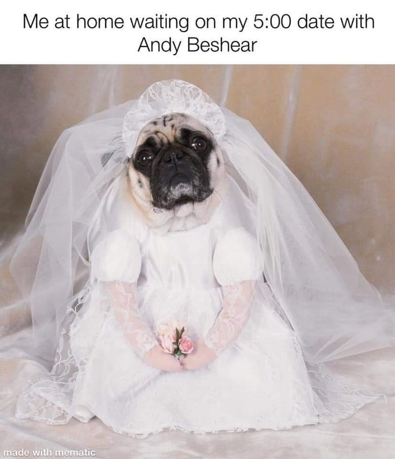 Wedding dress - Me at home waiting on my 5:00 date with Andy Beshear made with mematic