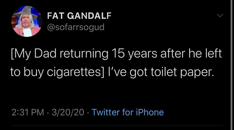 Text - FAT GANDALF @sofarrsogud [My Dad returning 15 years after he left to buy cigarettes] l've got toilet paper. 2:31 PM · 3/20/20 · Twitter for iPhone