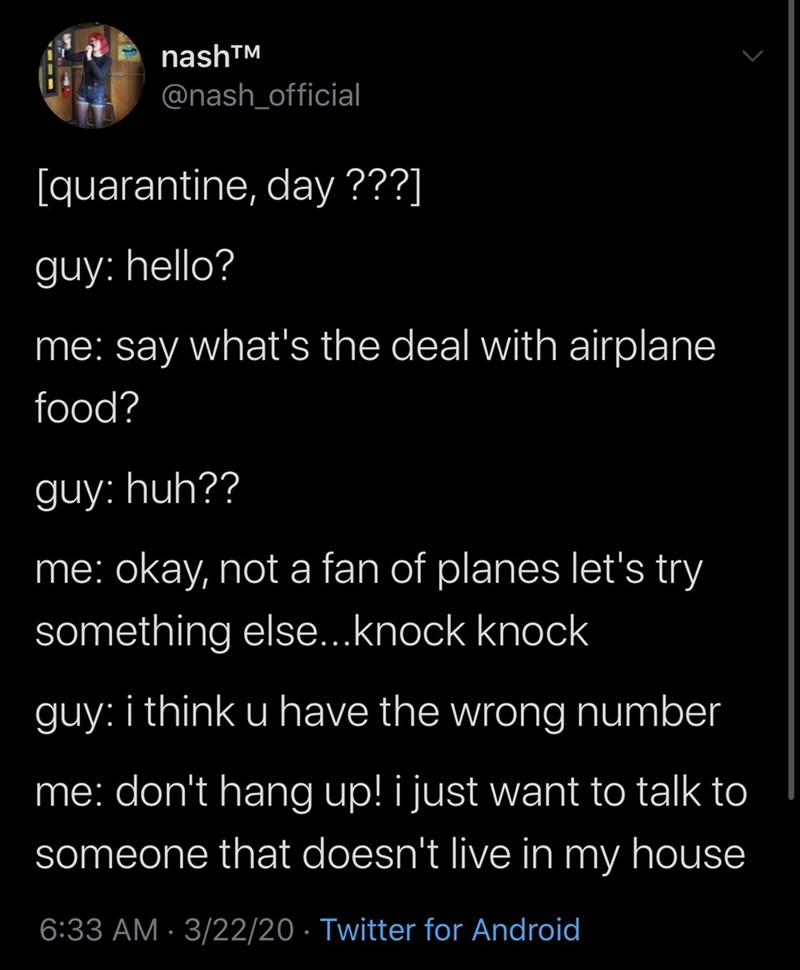 Text - nashTM @nash_official [quarantine, day ???] guy: hello? me: say what's the deal with airplane food? guy: huh?? me: okay, not a fan of planes let's try something else...knock knock guy: i think u have the wrong number me: don't hang up! i just want to talk to someone that doesn't live in my house 6:33 AM · 3/22/20 · Twitter for Android