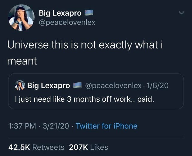 Text - Big Lexapro @peacelovenlex Universe this is not exactly what i meant Big Lexapro @peacelovenlex · 1/6/20 I just need like 3 months off work.. paid. 1:37 PM · 3/21/20 · Twitter for iPhone 42.5K Retweets 207K Likes