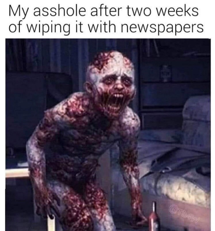 Zombie - My asshole after two weeks of wiping it with newspapers @TDAW