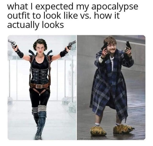 Clothing - what I expected my apocalypse outfit to look like vs. how it actually looks