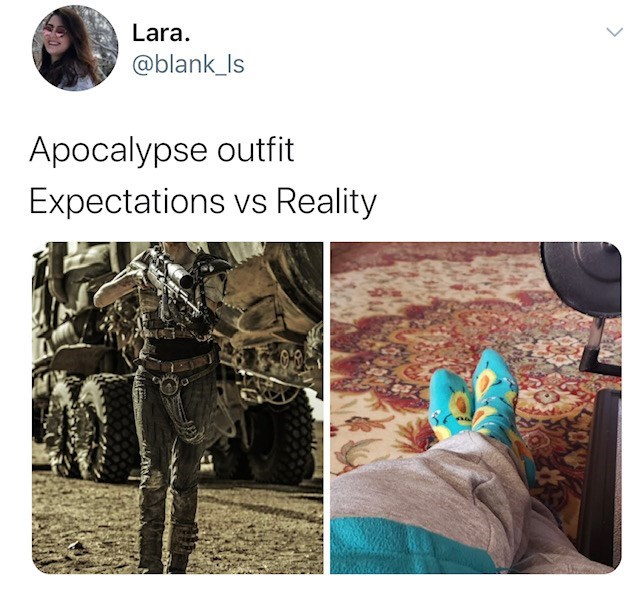 Text - Lara. @blank_Is Apocalypse outfit Expectations vs Reality VS
